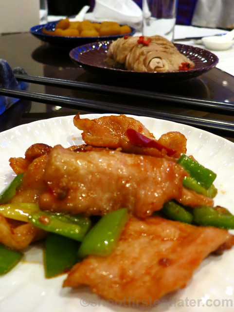 grilled sliced Kobe pork with garlic