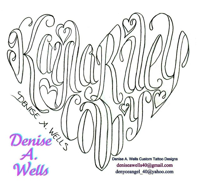 Names made into a Heart Shaped tattoo by Denise A. Wells