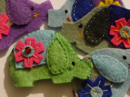 Felt Elephant Brooches - in progress!