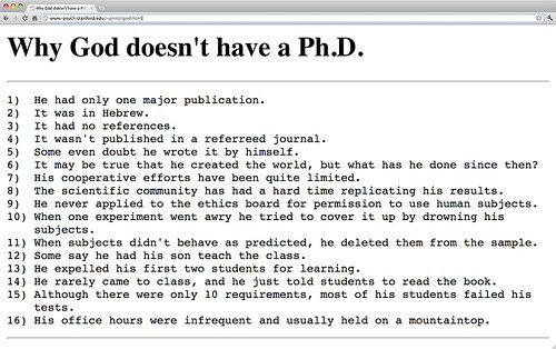 Why God doesn't have a PhD via John Pinto at Stanford University