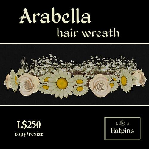 Hatpins - Arabella Hair Wreath - White Roses