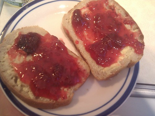 homemade sourdough bread, homemade strawberry jam by Br3nda