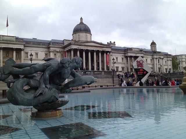 Trafalgar Square, National Gallery, London 2012 Olympics Countdown Clock