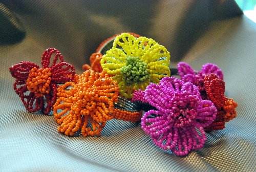 Flower Beaded Napkin Rings (8)
