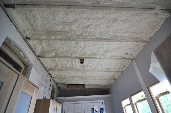 Sleeping porch south ceiling after insulation