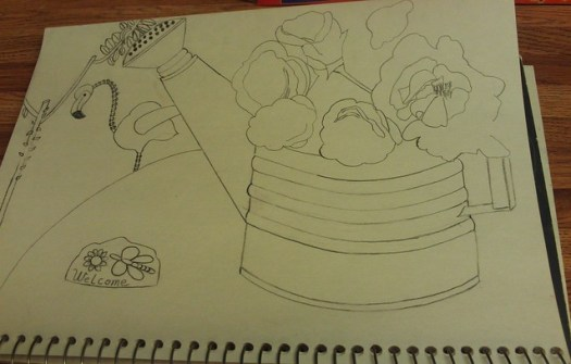 Drawing Roses In A Watering Can Part 2