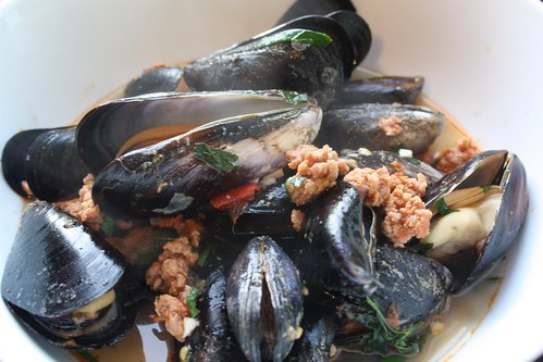 Mussels and chorizo