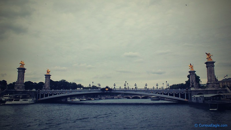 Beatifully curved Pont Alexandre III bridge in Paris