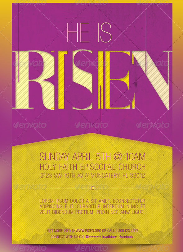 He Is Risen Church Flyer and CD Template