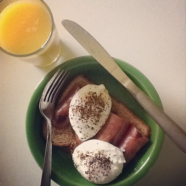 Breakfast: oatmeal toast, chicken sausage, poached eggs #marchphotoaday