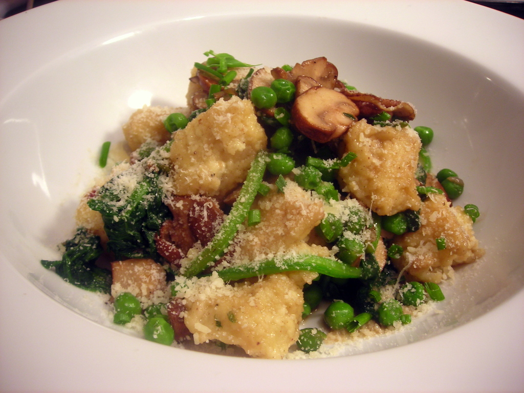 Sheep's milk ricotta gnocchi, with Greenmarket spinach, crimini mushrooms and baby peas