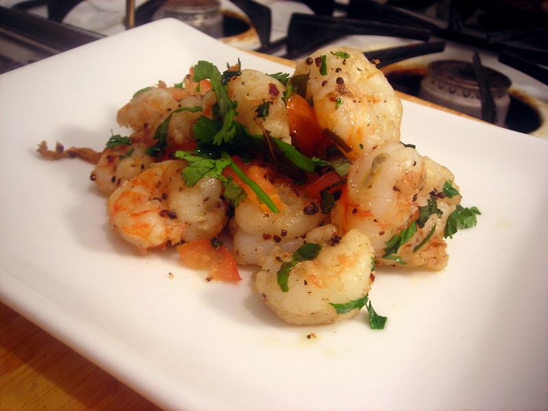 Spiced rock shrimp, heirloom tomatoes