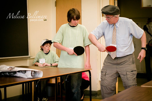 Jerry Mintz teaching ping pong..