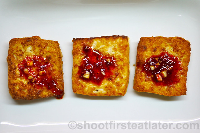 panfried tofu with spicy sauce