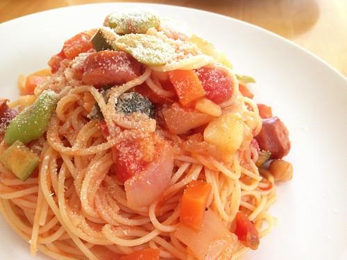 スープのリメイクトマトスパゲッティ