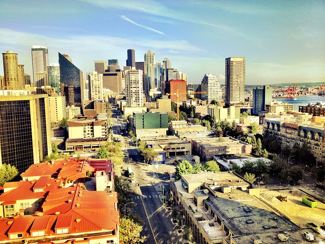 My rental application was APPROVED. Here's the view from the rooftop deck of my new Seattle apartment.