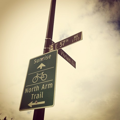 Signage indicating the new Vancouver bike route, the North Arm Trail.