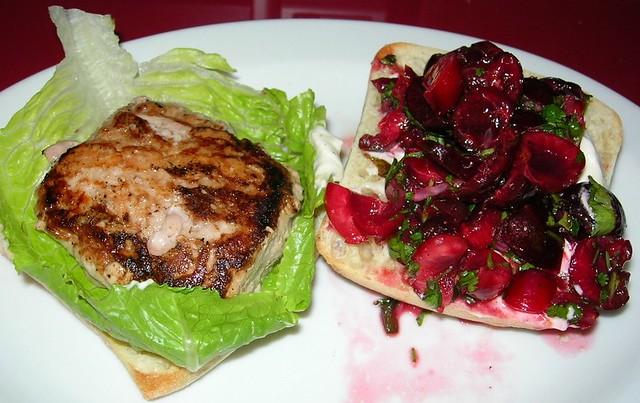Cherry Salsa on Turkey Burger