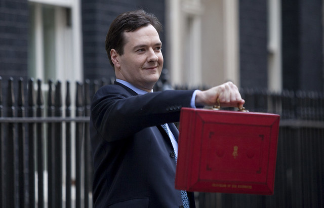 UK finance minister George Osborne with a red box