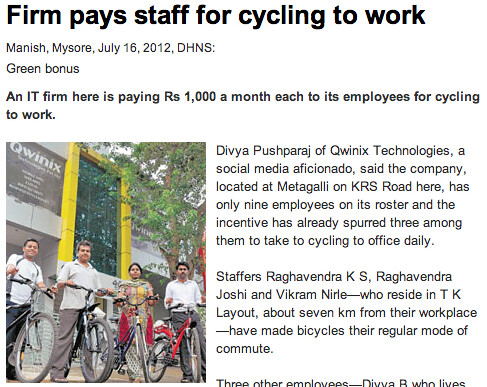 Firm pays staff for cycling to work