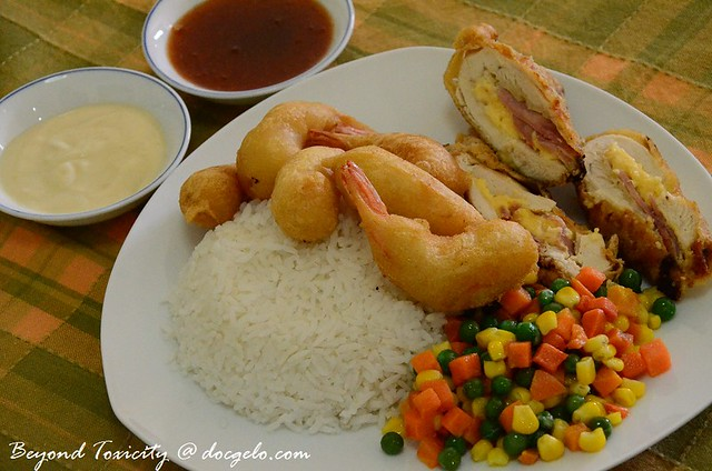 prawn tempura and chicken cordon bleu