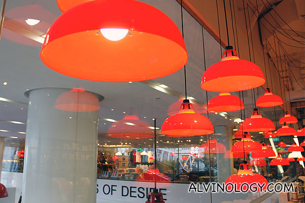 Red lampshades in the store