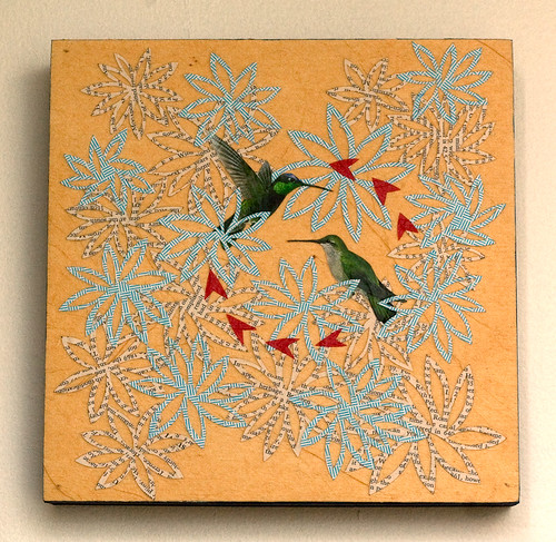 Bird collage on wood