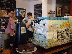 Hopper and machine, Prufrock Coffee, Leather Lane