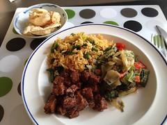 Nasi goreng, Batavian endive 'boemboe boontjes' and asem manis tempeh