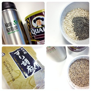 Quaker Quick Cooking White Oats + Daiso Ground Black Sesame Seeds + Hot Water from Klean Kanteen Insulated