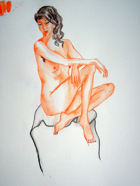 Colored water-soluble pencil sketch of seated female model, slightly cartoony in style