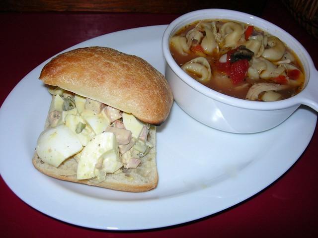 Ham & Egg Salad Sandwich with Soup