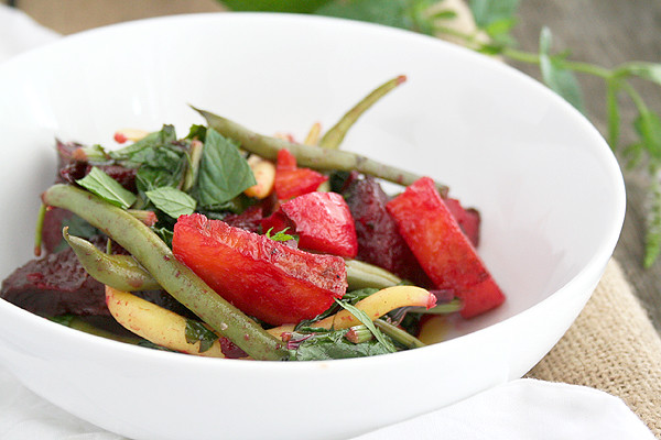 Roasted Beets, Tops, and Green Bean Salad in a Honey Vinaigrette