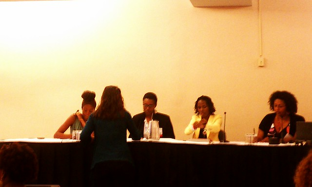 Issa Rae of @awkwardblkgrl, Franchesca Ramsey @chescaleigh of Shit White Girls Say to Black Girls, @Luvvie & @DrGoddess #BlogHer12
