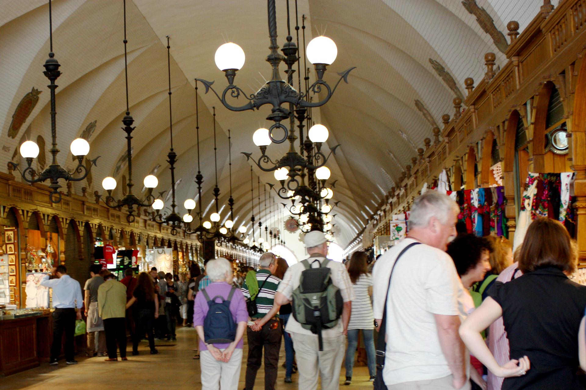 Inside Cloth Hall, Main Square, Krakow.