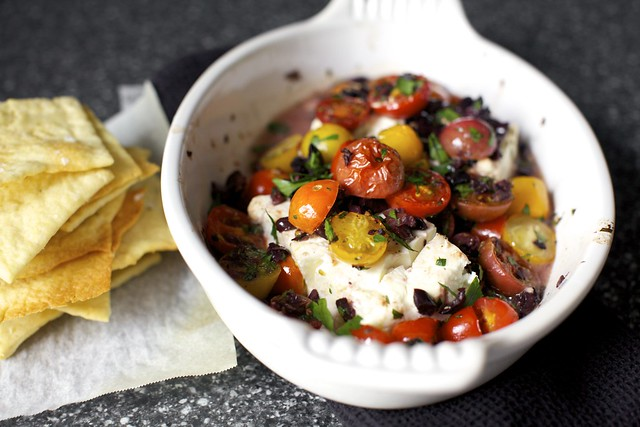 baked feta with tomatoes and olives