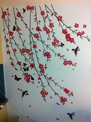 Cherry Blossoms, Birds, Butterflies Wall Vinyl