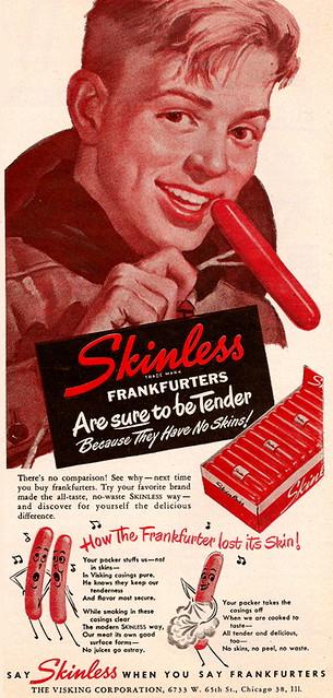 Hersteria Theatre skinless wiener vintage ad 2