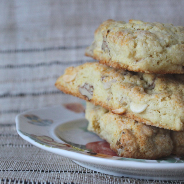 White Chocolate Chip Walnut Scones