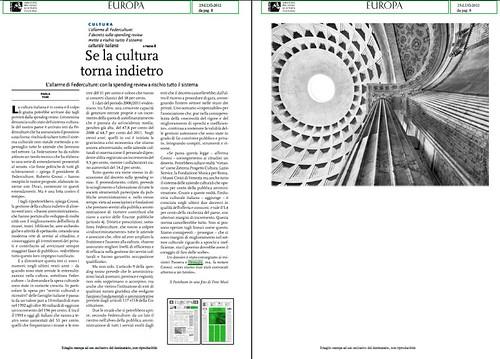 ITALIA BENI CULTURALI: L' allarme di Federculture: Con la spending review a rischio tutto il sistema. EUROPA (25/07/2012), p. 8 by Martin G. Conde