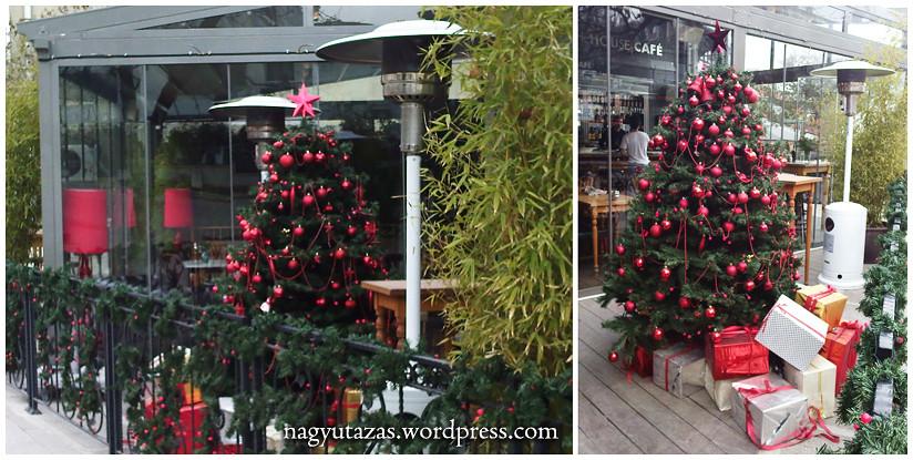 Gyönyörű, piros gömbökkel díszített karácsonyfa Törökországban
