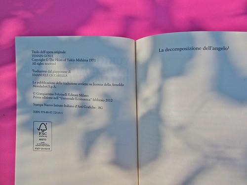 Yukio Mishima, La decomposizione dell'angelo. Feltrinelli 2012. Art director: Cristiano Guerri. In cop.: ©Araki. Colophon e p. 7 (part.), 1