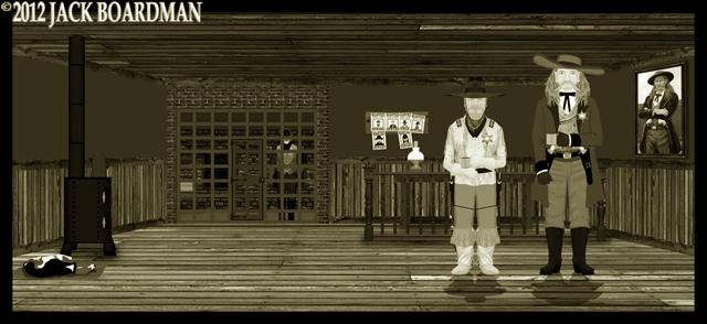 Boomer Hickok & Daisy at the Dreadwood jail ©2012 Jack Boardman