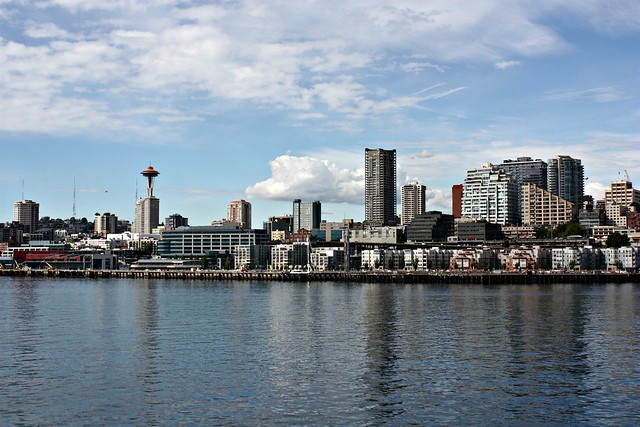The Seattle Waterfront on a sunny day by adnamayy on Flickr.