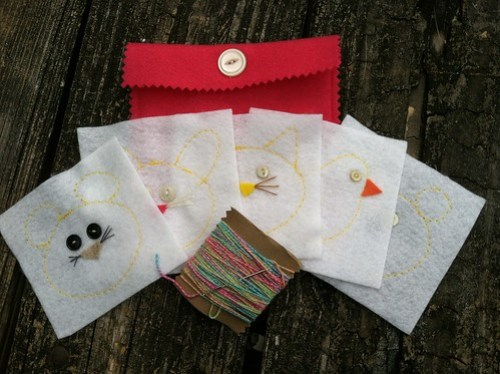 children's embroidery kit: pinks