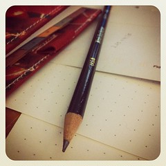 Filofax, printed dot grid paper, Black Warrior pencil.