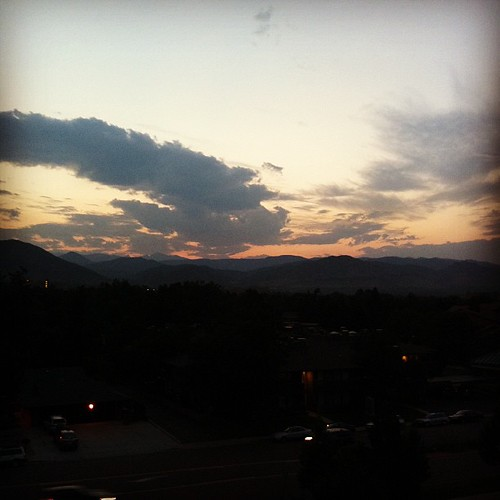 Sunset over the Rockies as seen from the balcony