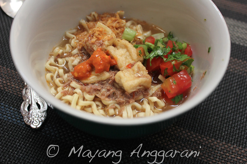 Remember my spin on rendang? Its egg noodles with strong beefy broth and toasted coconut sprinkles