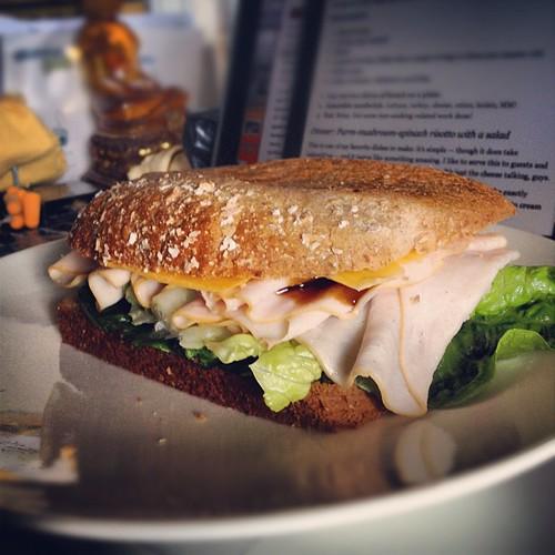 My turkey & hoisin sandwich. I learned that hoisin sauce will leak thru bread. #obhfood