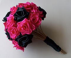 Punk Rock Bride- Hot Pink and Black Bouquet- Side 2